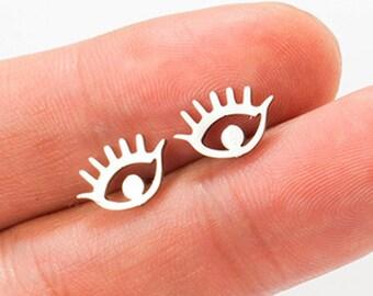 Evil Eye Earrings, Dainty Evil Eye Stud Earrings, hypoallergenic, non-tarnish stainless steel, good luck, protection, Kabbalah stud earrings