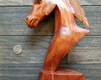 Hand Carved Teak Wood Horse Bust