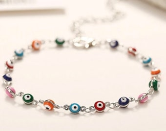 Evil Eye Anklet Bracelet, multi color dainty anklet foot jewelry, silver plated good luck anklet, Greek, Turkish evil eye, lucky eye
