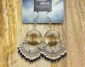 Tree of Life Beaded Earrings, Beaded Dangle Alpaca Silver Earrings, Peruvian Style, Dangle Gemstone Crystal Earrings