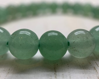 Aventurine Bracelet, Green Aventurine Natural Gemstone Stretch, Healing Crystal, Heart Chakra, Success, Good Luck, Balance, Career Bracelet