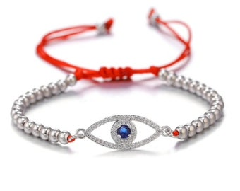 Red String Evil Eye bracelet, good luck bracelet, adjustable, greek blue evil eye jewelry, Red Kabbalah bracelet, silver evil eye bracelet