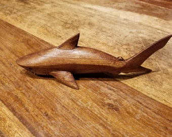 Handmade Great White Shark Wood Carving