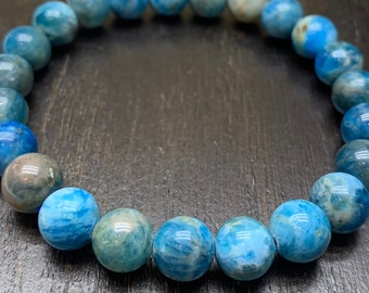 Apatite Bracelet, 8mm Natural Blue Apatite Beads, Throat Chakra , Healing, Balance, Focus, Calming, Weight Loss, Protection Bracelet