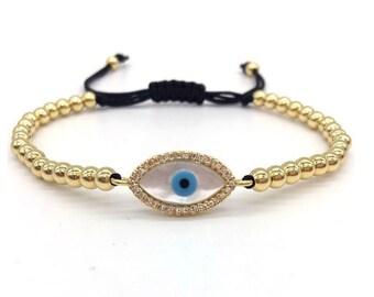 Evil Eye bracelet, good luck bracelet, adjustable, greek blue evil eye jewelry, Kabbalah bracelet, gold evil eye bracelet