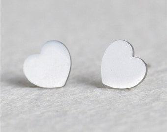 Heart stud earrings, hypoallergenic stainless steel love earrings, non-tarnish, dainty, minimalist heart ear studs