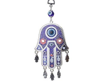 Evil Eye Hamsa Wall Hanging, Good Luck, Wealth, Protection Home Decor, Blue Greek Evil Eye, Hand of Fatima, Kabbalah Home Decor