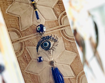 Evil Eye Wall Hanging Decor, for Good Luck, Wealth, Protection, Blue Greek Evil Eye  the Hand of Fatima Home Decor