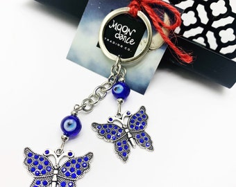 Evil Eye butterfly keychain, wall hanging decor, for good luck, wealth, protection, greek evil eye, key ring, rear view mirror car charm