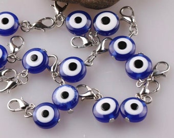 Evil Eye Charm, Evil Eye Lobster Clasp Charm Bracelet Clip On Dangle Evil Eye Bead, Good Luck, Protection Jewelry, Cat and Dog Collar Charm