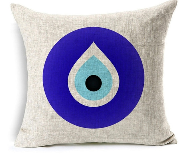 "Featured listing image: Evil Eye Pillow Cover, Evil Eye Pillow case, decorative cushion cover, Watercolor Painting, 17x17"", good luck, protection, greek evil eye"