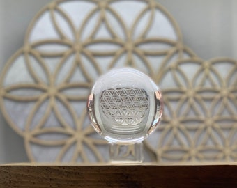 Flower of Life Crystal Ball, Gazing Ball, Crystal Sphere, Sacred Geometry Crystal Ball with a stand