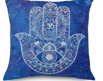 "Evil Eye Hamsa Pillow Cover, Home Sofa Decorative Pillow case, 17x17"", Throw Pillow Cushion"