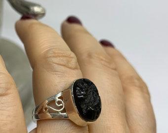 Moldavite Ring, Size 7, Genuine Moldavite Sterling Silver Ring, Tektite, Natural Raw Moldavite, Moldavite from Czech Republic