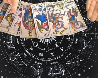 Zodiac Signs Altar Cloth, Tarot Card Velvet Altar Table Cloth, Mysterious Divination, Constellation Signs Altar Cloth, Sun and Moon Tarot