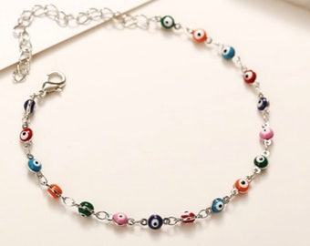 Evil Eye Anklet, Evil Eye Ankle Bracelet, minimalist, dainty foot jewelry, beach wedding gift, good luck protection anklet