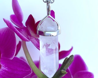 Clear Quartz Necklace Genuine Clear Quartz Jewelry Stainless Steel Chain Necklace Pendant Necklace Healing Crystal Necklace Unisex