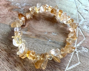 Citrine Bracelet, Natural Chip Citrine Beads, November Birthsone Bracelet