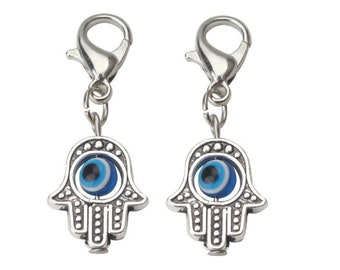 Evil Eye Hamsa Hand Charm, Evil Eye Lobster Clasp Charm, Tiny Clip On Dangle Evil Eye Bead, Jewelry Charm Bracelet, Cat and Dog Collar Charm