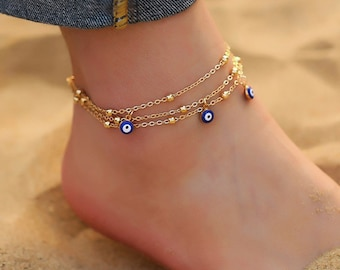 Evil Eye Anklet, Evil Eye Ankle Bracelet, gold, minimalist, dainty foot jewellery, beach wedding gift, good luck protection anklet