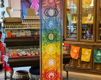 Chakra Banner, Chakra Tapestry, Chakra Prayer Flag, 7 Chakra Wall Decoration, Reiki Decor, Spiritual Wall Hanging, Boho Wall Decor