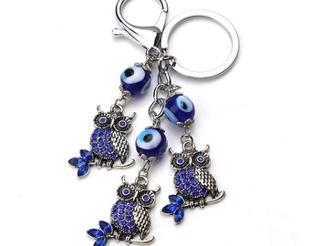Evil Eye Owl keychain, Evil Eye keychain, wall decor, good luck, wealth, protection, greek evil eye, key ring, rear view mirror car charm