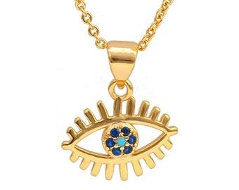Evil Eye Necklace, Evil Eye Dainty Gold Pendant Necklace, Good Luck Charm
