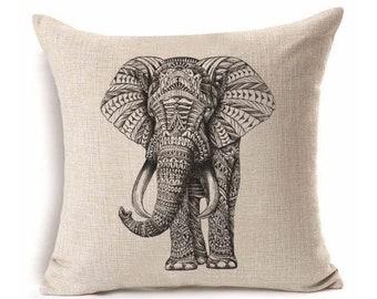 Elephant Pillow Cover, Throw Pillow, Decorative Pillow case, Good Luck Decor, Trunk Up Elephant Cushion Cover, Sham Slip, 17x17
