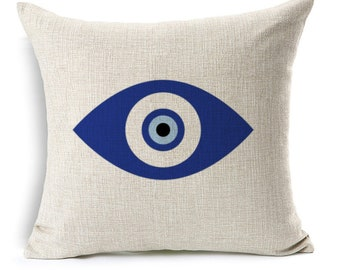 """Evil Eye Pillow Cover, Evil Eye Pillow case, decorative cushion cover, Watercolor Painting, 17x17"""", good luck, protection, greek evil eye"""