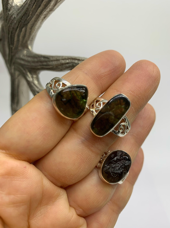Moldavite from Czech Republic Genuine Moldavite Sterling Silver Ring Moldavite Ring Natural Raw Moldavite Tektite