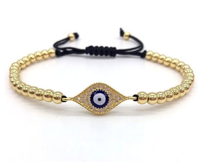 Featured listing image: Evil Eye bracelet, good luck bracelet, adjustable, greek blue evil eye jewelry, Kabbalah, gold evil eye bracelet, silver evil eye bracelet