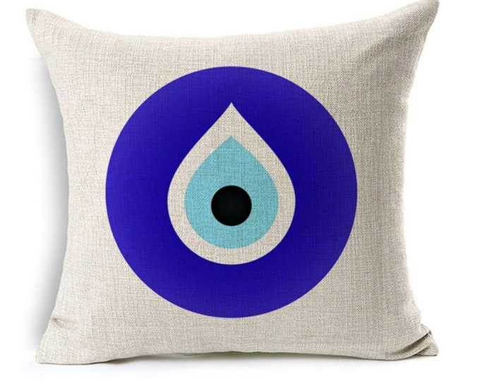 """Featured listing image: Evil Eye Pillow Cover, Evil Eye Pillow case, decorative cushion cover, Watercolor Painting, 17x17"""", good luck, protection, greek evil eye"""
