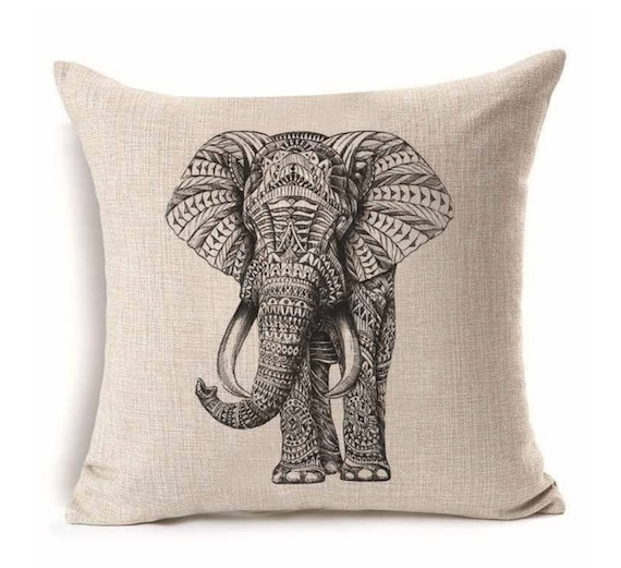Trunk Up Elephant Throw Pillow Cushion Cover Home Sofa Decorative Pillowcase, 17x17""