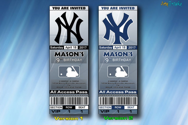 image about Ny Yankees Printable Schedule called NY Yankees Invitation, Contemporary York Yankees Birthday Invite, Ticket, Tickets, Electronic Product, Printable, Invites, Occasion Invitations