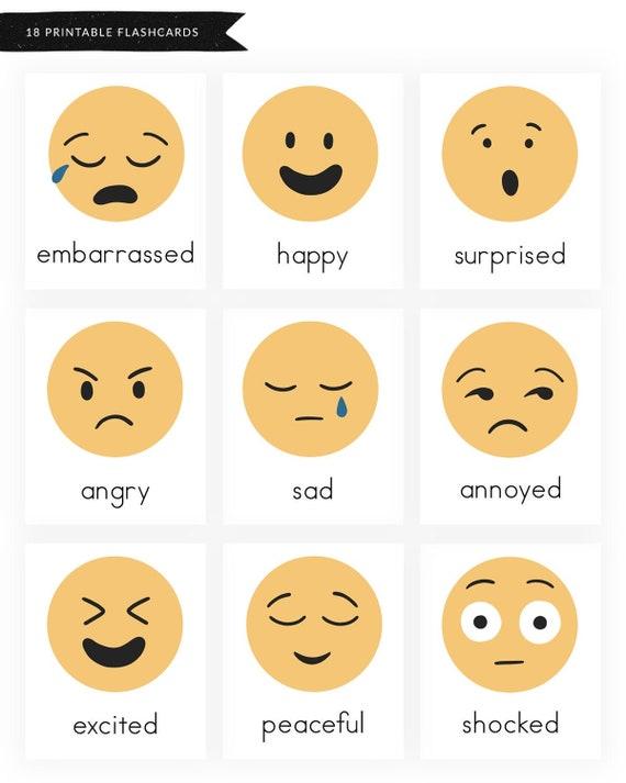 Emotions And Feelings Printable Worksheets Emotions Flashcards Feelings Flashcards Emoji Flashcards Preschool Kindergarten