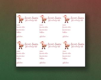 Secret Santa Gift Exchange Info Cards Secret Santa Gift Etsy