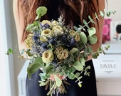 White Garden Bridal Bouquet-Dried Roses/Thistle/Eucalyptus/Dried Flower Bouquet/For Bride/Bridesmaid/Wedding Day/Wedding Floral/Big Day