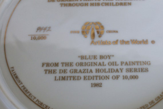Blue Boy Vintage De Grazia Collector Plate