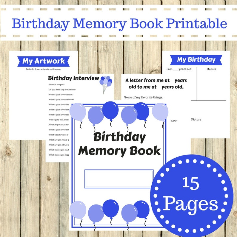 picture regarding Memory Book Printable identify Blue Topic Birthday Memory E-book Magazine Printable 15 Internet pages Quick Obtain