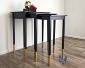 Three Nesting Tables, Hand Painted, Custom Navy Color, Gilded Gold Raised Stencil, Gilded Gold Feet