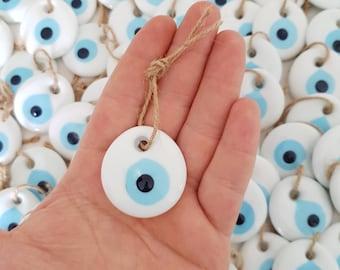 Nazar Boncuk Circular Hole 2.5 cm Evil Eye Beads Jewelry Green Glass Beading Greek  Evil Eye Natural Small 5pcs