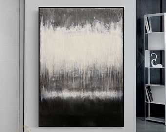 Black and white wall art Large Black Abstract Painting Black and white abstract Art Black white Minimalist Painting Black white Painting