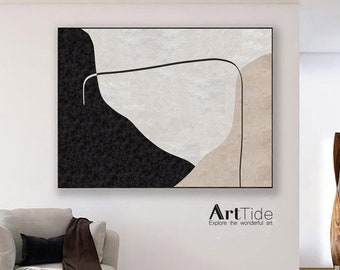 Large Original Abstract Canvas Oil Painting Contemporary Art Beige White Painting Minimalist Abstract Painting On Living Room Art Decor Wall