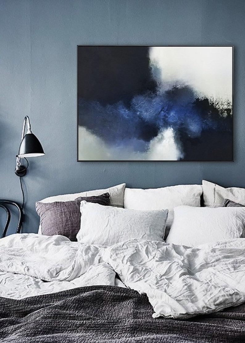Ocean Painting,Black White Painting,Large Abstract Painting Blue Abstract Painting Horizontal Wall Art,Handmade Art,Blue Oil Painting