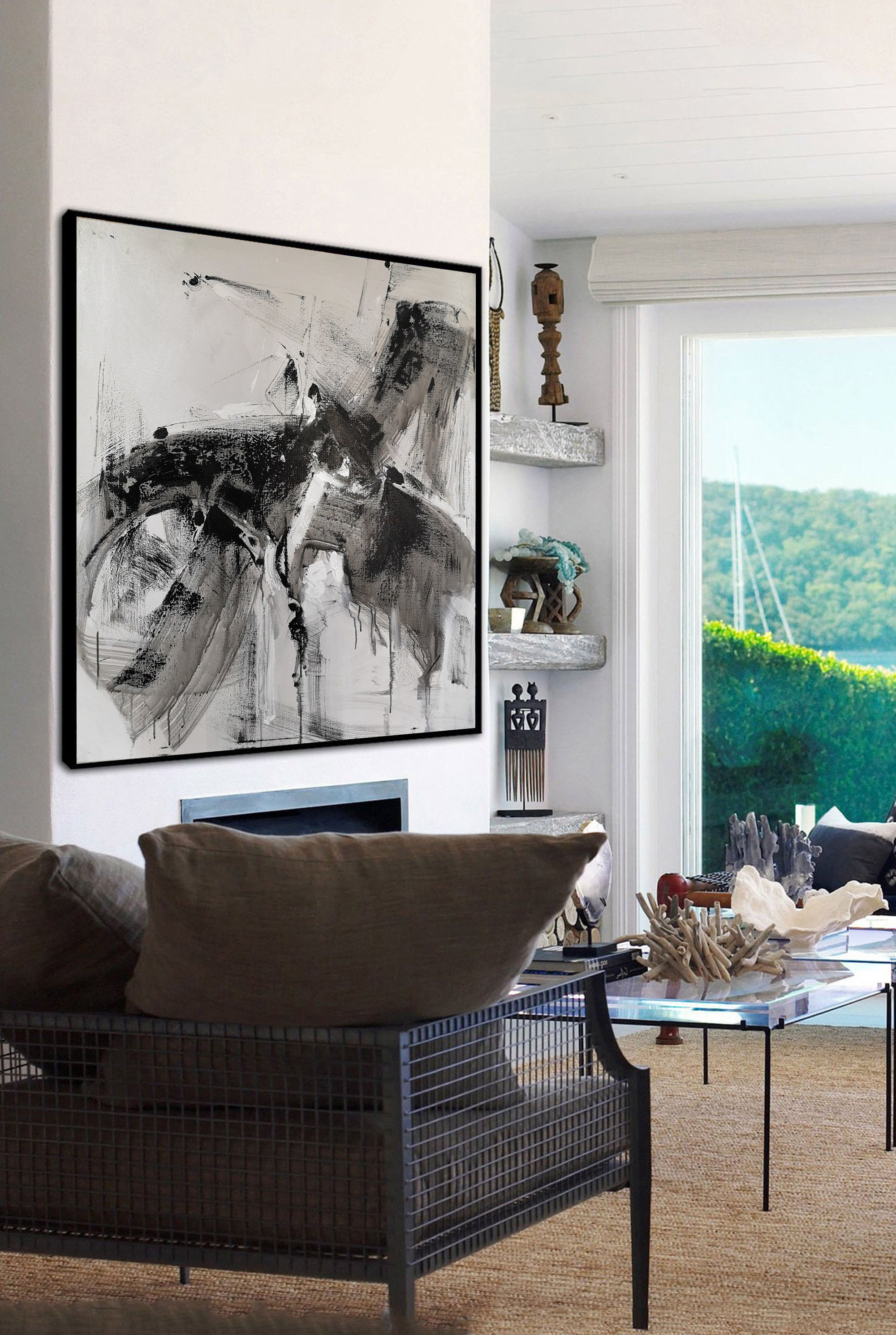 Large Abstract Painting Canvas Oil Painting Abstract Black And White Wall Oil Painting Original Abstract Large Wall Decor for Living Room