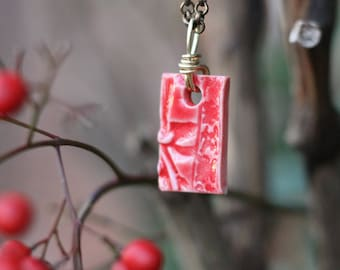 Cherry Blossom Pendant, Red Stoneware Ceramic Pendant - Handmade Necklace, Red Floral Pendant, Red Jewelry, Statement Piece, Gift for Her