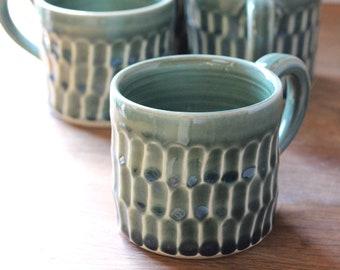 Carved Pottery Mug, Blue Green Celadon Stoneware Mug - Handmade Teal Green Textured Mug, Unique Coffee Lover Gift, Green Coffee Mug