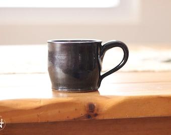 Short Black Metallic Mug, Black Gray Speckled Ceramic Mug - Short Ironstone Espresso Mug, Black Gray Ceramic Mug, Studio Pottery Tea Mug