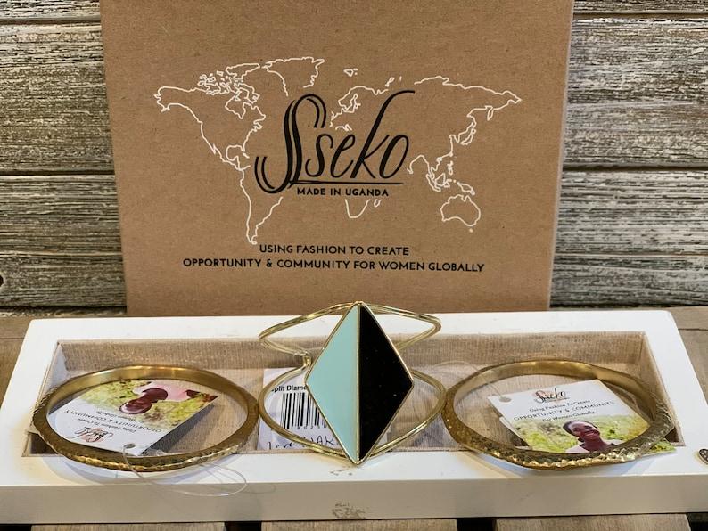 Split Diamond Cuff in Black /& Sky by Sseko