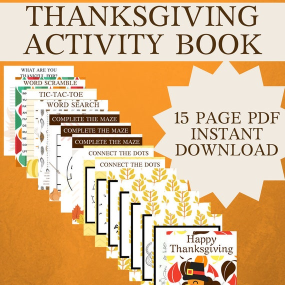 THANKSGIVING holiday kid activities worksheets lesson